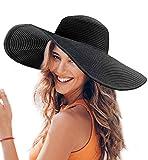 Dafunna Donne Cappello Tesa Larga Elegante Cappello Protezione UV Paglia da Cappello della Spiaggia Pieghevole Floscio Protezione Solare Cappello da Sole Estate (Nero)