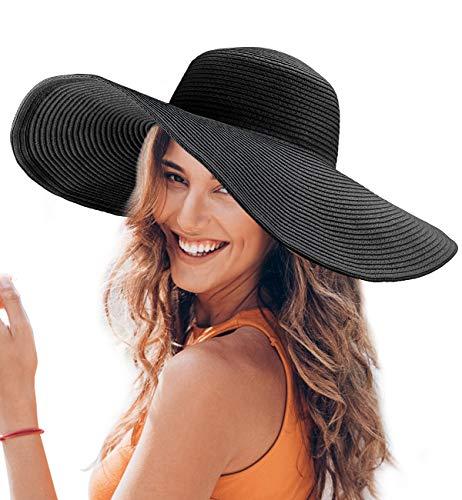 Dafunna Sonnenhut Damen Faltbar Strohhut UV Schutz Strandhut Elegant Sommerhut mit groß krempe für Sandstrand Urlaub (Schwarz)