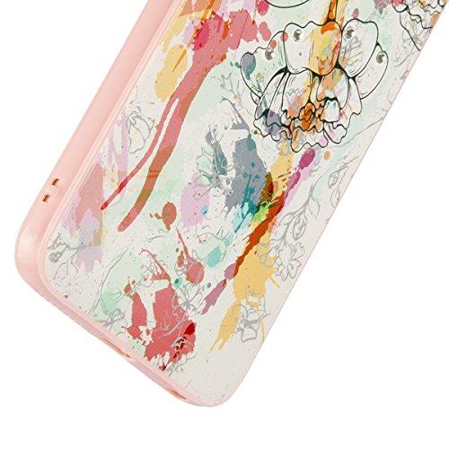 iPhone 6 Hülle,iPhone 6S Case,iPhone 6S Hardcase - Felfy TPU Rahmen Schutzhülle Hart Acryl Zurück Handy Tasche Frischer Fashion Muster Durchsichtige Rückschale und Bling Kristall Diamant Strass Siliko Tempera