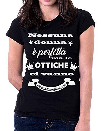 """Tshirt MESTIERI nessuna donna è perfetta ma le """" ottiche """" ci vanno dannatamente vicine - ottico - Tutte le taglie by tshirteria Nero"""
