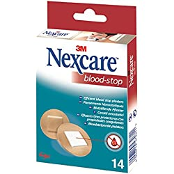 Nexcare Blood Stop Pansements Hémostatiques ronds Set de 14 Pansements