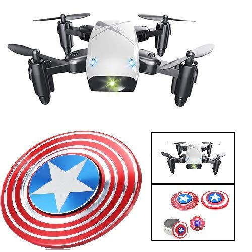 Premsons RC Drone Foldable S9 Mini Pocket Quadcopter Remote Control Headless Mode A Key Return with Surprise Gift (No Camera - White)