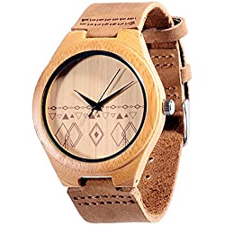 Affute Unisex Wooden Bamboo Watch with Genuine Leather Band Analog Quartz with High Quality Japan Miyota Movement