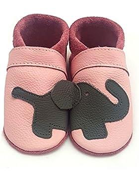 little foot company® 1124 Krabbelschuhe Babyschuhe Lauflernschuhe Elefant weiches Leder rosa