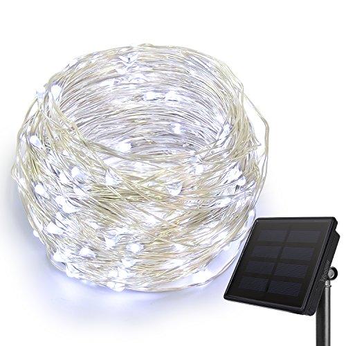 HEEPOW Verbesserte LED Kupferdraht Lichterkette (3-Strang Kupferdraht, 200 LED, 72 ft/ 22M), Solar Lichterkette mit 8 Modi, wasserdicht Solar LED Lichterkette für außen/innen, Schlafzimmer, Balkon, Fenster, Gras, Baum (Cool Weiß)