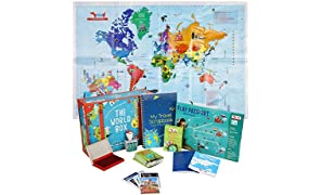 Traveller Kids World Box Learn Geography with Maps, Passport, Scrapbook for Age 5-8, 9 -11 Years (Multicolour)
