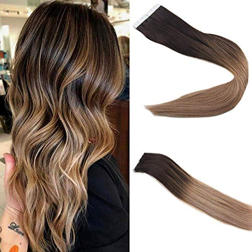 Easyouth Echthaar Extensions Ombre Tape in 22 zoll 100g 40Pcs pro Paket Balayage Farbe 2 Verblasst bis 6 Highlight mit 18 Echthaar Tape Ombre