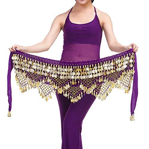 Lonshell Gold Münze Hüfttuch Münzgürtel Bauchtanz Kostüm Hüfttuch Taille Gürtel Kurz Minirock Wickelbund Strandtuch Hüft-Tuch für Bauch - Spanisch Jazz Kostüm