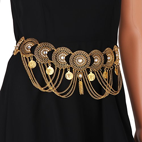 iiniim Damen Gürtel Vintage Taille Gürtel Münze Quaste Kettengürtel Kleid Dekoration Accessoires...