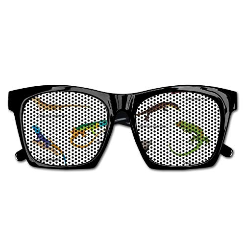 Mesh Sunglasses Sports Polarized, Lizard Family Design Primitive Reptiles Camouflage Exotic Creatures Home Design,Fun Props Party Favors Gift Unisex