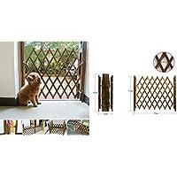 LaCyan - Barrera de Seguridad para Puerta de Perro, Extensible de Madera, protección Interior y Exterior