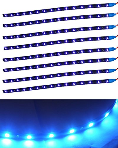 XINBAN LED Neonlichter Streifen Auto 8x 30cm 15SMD LED Auto Innenbeleuchtung Streifen Strip Leiste Lichterkette Wasserdicht 12V [Energieklasse A+] (Blau)