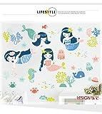LangToo Die Unterwasserwelt cartoon niedliche Meerjungfrau Wandaufklebern frische Mädchen Schlafzimmer Badezimmer mit Postern dekoriert