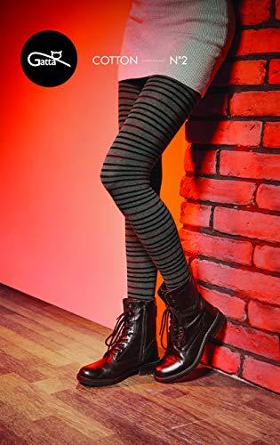 Gatta Strickstrumpfhose aus Baumwolle mit Muster (G88716-02) - hoher Baumwollanteil - gemustete Baumwollstrumpfhose gestreift - Größe 3-M - Mel. Grafit