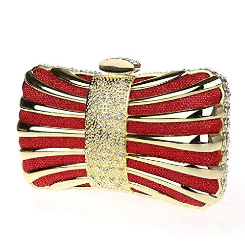 Le borse del sacchetto sacchetto del vestito nuovo mini-moda pochette banchetto borsa diamante di sera borsa Annual Meeting ( Colore : Oro ) Rosso