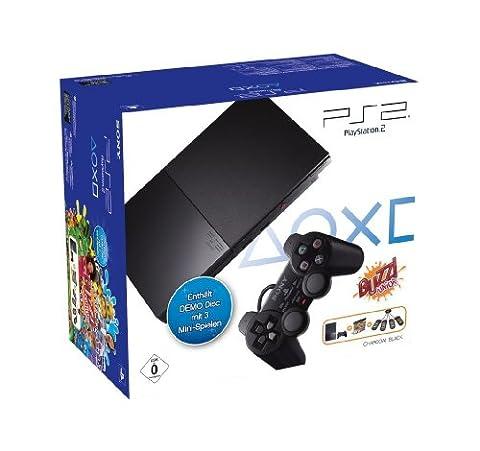 PlayStation 2 - PS2 Konsole Slim, black + Buzz!: Junior Demo Disc + Buzz!: Buzzer