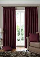 """Woven Jacquard Squares Wine Red 46x54"""" 117x137cm Lined Pencil Pleat Curtains Drapes by Curtains"""