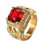 PMTIER Herren Jahrgang Edelstahl Zirkonia Kristall Ring Gold Rot Größe 60