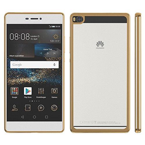 Huawei P9 Hülle, EAZY CASE Chrom Cover Handyhülle - Schutzhülle aus Silikon in Metallic Silber Gold Chrome
