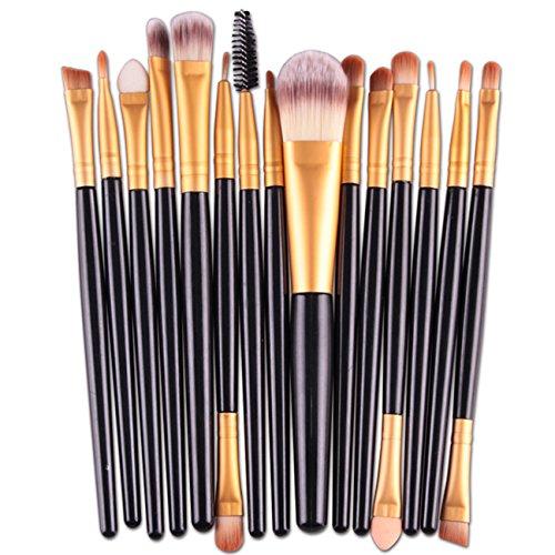 Amuster 15 pcs/Ensembles Ombre à paupières Fondation Sourcils Brosse à Lèvres Pinceau de Maquillage Outil (Noir)