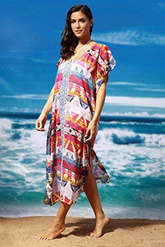 AGOGO Donne Sexy Multicolore etnico Stampare Bikini Chiffon Coprire Copertina Costumi da bagno Maxi Vestito Spiaggia La stampa multicolore
