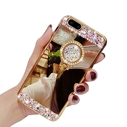 iPhone 8 Plus Hüllen,Vandot Double Silikon Hülle für iPhone 8 Plus/7 Plus Handyhülle Glänzend Glitzer Crystal Kristall Stoßdämpfend Transparent Full Body Beidseitiger 360°Schutz Schutzhülle Touchscree Spiegel-Gold