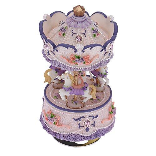 Yuver (TM) di lusso Windup 3-cavallo del carosello Music Box creativo Artware / regali Castello Melody in the Sky 4 colori di ombra Bella