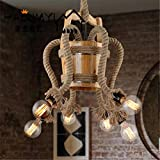 ShengYe stile rustico plafoniera lampada a sospensione Loft bar lampadari antichi lampadari cafe legno benna lampadario di sisal 65*35cm