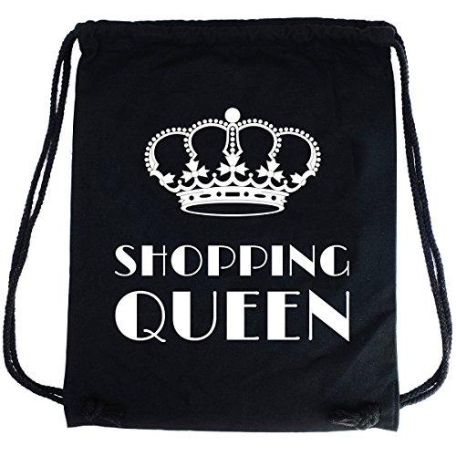 PREMYO Sacca zaino di cotone nera con scritta divertente Zainetto con disegno a stampa Shopping Queen Sacca da palestra di qualità con chiusura a cordoni. Sacca sportiva morbida. Borsa Gym Bag in tela