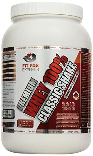 Fit Fox Express Premium Whey 100% Protein (Eiweißshake, Molkenprotein mit Dosierlöffel) Classic Joghurt Cream, 1er Pack (1 x 1 kg), 1000 g Dose -