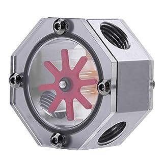 amazingdeal Metall G1/4Gewinde Wasser Flow Meter Anzeige für PC Wasserkühlung, schwarz