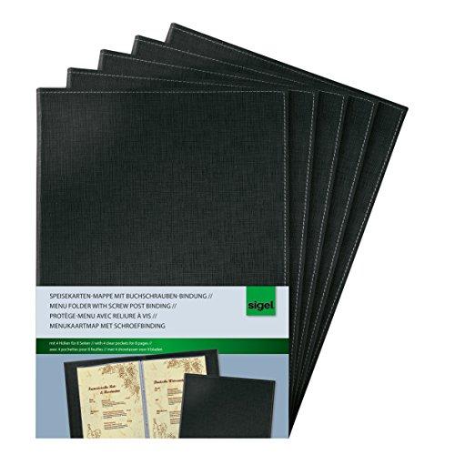 Sigel SM130/5 Speisekarten-Mappen mit Buchschrauben-Bindung für A4, 5-er Pack, schwarz