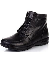 DAFENP Mujer Otoño Invierno Cuero Caliente Alineado Botines Calentar Botas de Nieve Anti-Deslizante Lazada Zapatos Botas de Trabajo