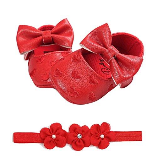 LUCKYCAT Sandales d'été Bébé, Amazon Chaussures de bébé Filles Garçon Chaussures à Semelle Souple Amour Cuir À la Mode + Bande de Cheveux 2018 (Âge: 0-6 Mois, Rouge)