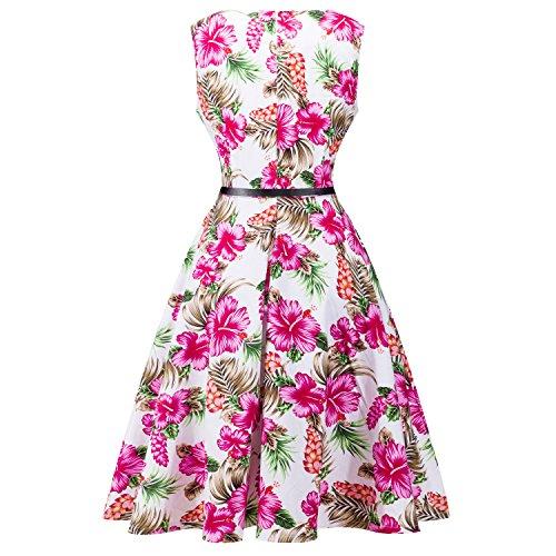 Vintage Kleid,SRANDER 50s Retro kleid Ärmellos Rockabilly Schwingen ...