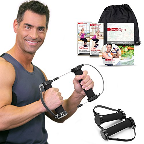 Best Resistance Bands Exercise Kit - Gwee® Gym PRO Total Body Workout Kit - All in One Portable Gym Equipment with Workout DVD, Travel Bag and Healthy Eating e-Book [Accessories Sold Separately]