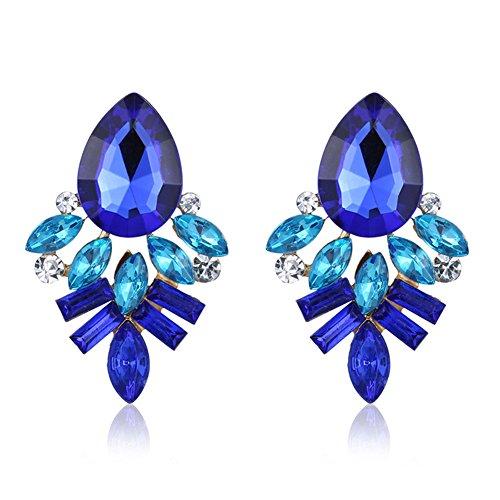 Hosaire 1 Paar Ohrringe Damen Mädchen Stein Ohrringe Fashion Süßes Kristall Diamant glitzernden Ohrstecker Geschenk,Blau (Süßes Paar Kostüme Einfach)