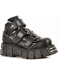 New Rock Metallic Negro Cuero Zapatos M.285-S1
