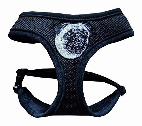 Hundegeschirr Mops Geschirr Brustgeschirr weich schwarz mit Stickerei verstellbar für einen Halsumfang von 37 cm - 43 cm, für einen Brustumfang von 47 cm - 65 cm