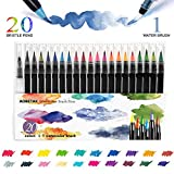 Watercolour Brush Pens Set,AOBETAK 20 Colouring Pens + 1 Water Brushes, Soft And