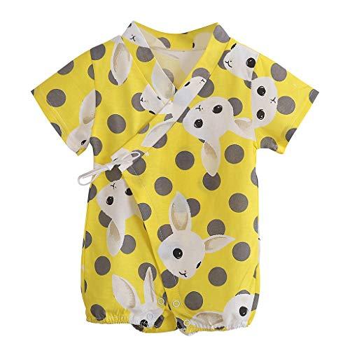 Tyoby Baby Mädchen Polka Dot Cartoon Kaninchen Drucken Baby Kurzarm Body,Sommer Freizeit Babykleidung(Gelb,59) (My Pony-kleinkind-kleid Little)
