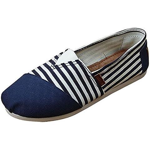 Minetom Donne Ragazze Estate Scarpe Tallone Piano Mocassino Pantofole Loafer Scarpe Strisce Modello