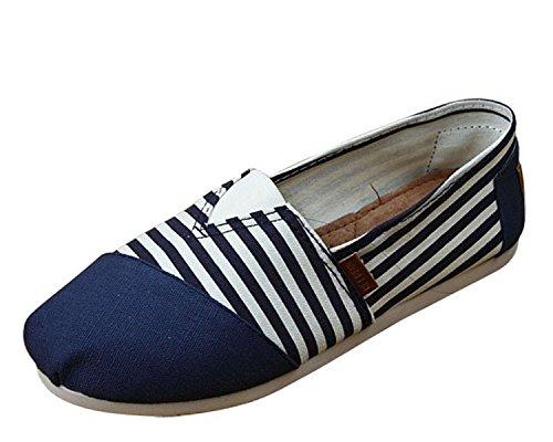 Minetom Donne Ragazze Estate Scarpe Tallone Piano Mocassino Pantofole Loafer Scarpe Strisce Modello Blu 35
