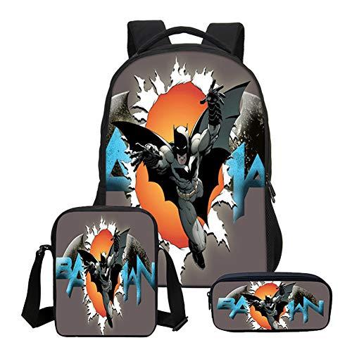 Qihao Kinderrucksack Dreiteiliger Batman-Rucksack Superman Spider-Man-Studententasche 5-15 Jahre Alte Computertasche 3