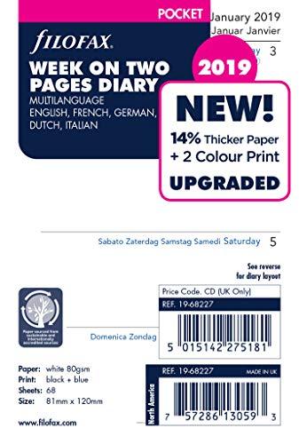 Filofax 19–68227–2019, settimana su due pagine,