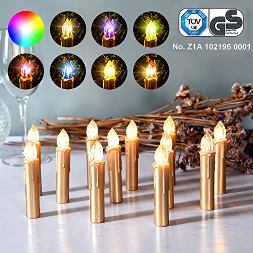 CCLIFE GS/CE LED Weihnachtskerzen Kabellos RGB Kerzen Bunt Weihnachtsbaumkerzen Christbaumkerzen mit Fernbedienung Timer Kerzenlichter, Farbe:Gold, Größe:20er