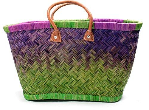 Madagaskar Korbtasche Strandtasche S- XXL Ibiza Basttasche Damen Lederhenkel Apple - Violet (Small) (Madagaskar Raphia)