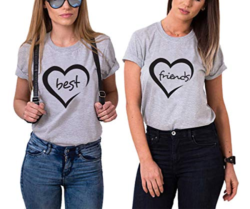 Best Friends Shirts Sister Tshirt für 2 Mädchen BFF T-Shirts für 2 freundschafts Partnerlook t-Shirt mit Herz Tops Geschenk Damen Sommer Oberteile 2 er Set(Grau,Best-S+Friends-S)