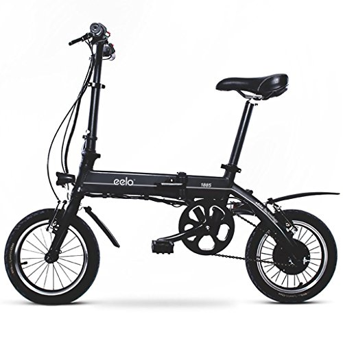 eelo 1885 Folding Electric Bike - Portable Easy to Store in Caravan, Motor Home, Boat. Short Charge Lithium-Ion Battery Silent Motor Commuter eBike, Thumb Throttle LCD Speed Display. (Black)