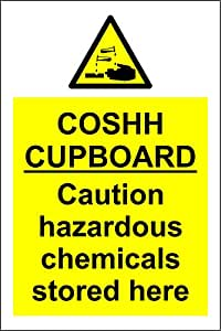 Coshh Cupboard Safety Sign Self Adhesive Vinyl 300mm X